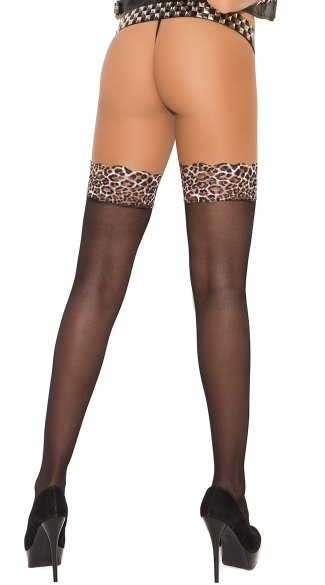 Sheer Leopard Lace Top Thigh Highs - Black