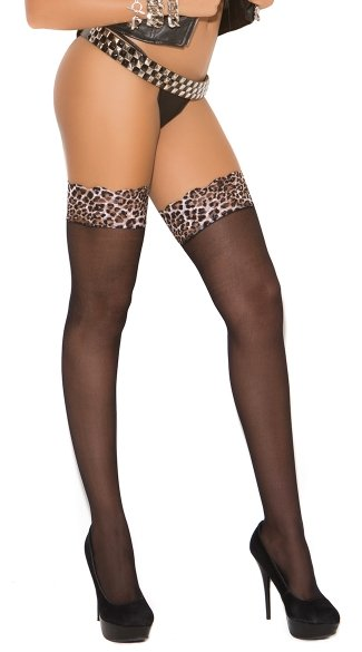 Sheer Leopard Lace Top Thigh Highs, Leopard Top Thigh Highs