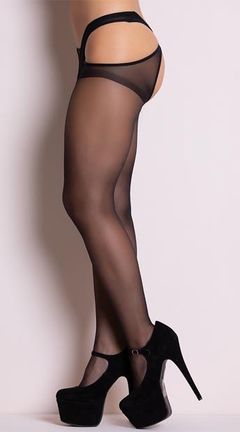 Sheer Criss Cross Suspender Pantyhose - Black