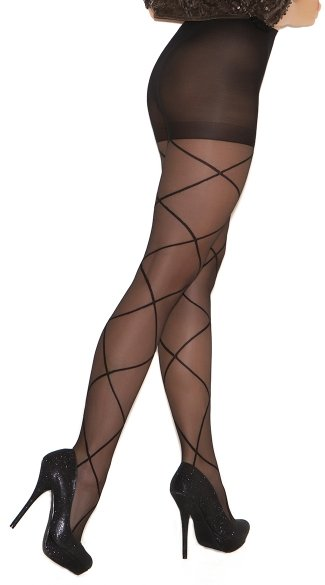 Sheer Pantyhose with Criss Cross Detail - Black