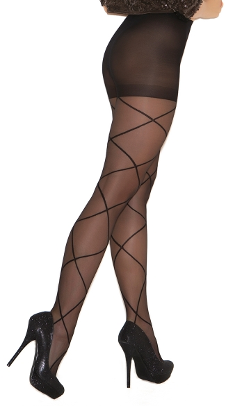 Plus Size Sheer Pantyhose with Criss Cross Detail - Black