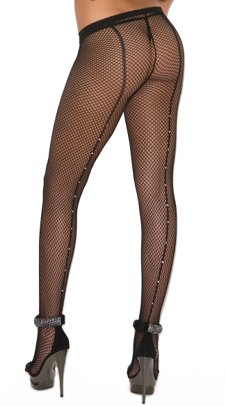 Fishnet Pantyhose with Rhinestone Seam - Black