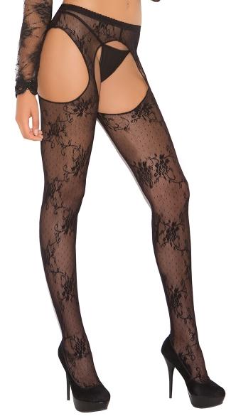 Plus Size Lace Suspender Pantyhose - Black