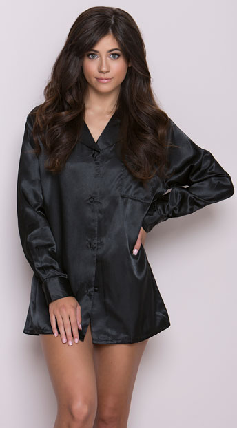 Satin Sleep Shirt, Red Satin Sleep Shirt, Black Satin Shirt