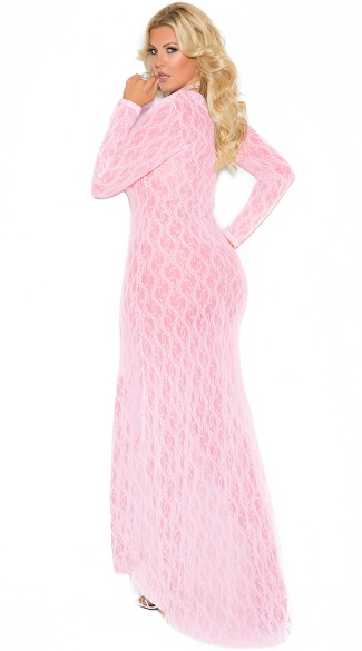 Plus Size Elegant Long Sleeve Lacy Gown - Baby Pink