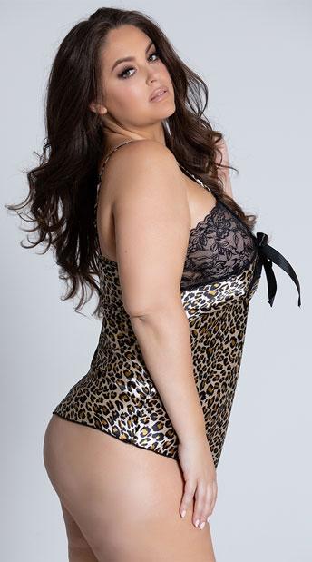 Plus Size Leopard and Lace Chemise - Leopard
