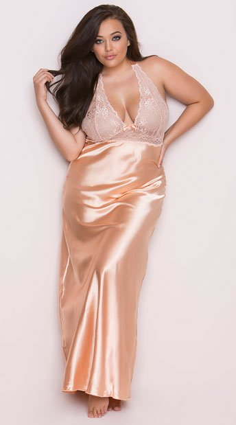 Plus Size Peaches And Cream Long Gown Plus Size Satin And Lace Gown