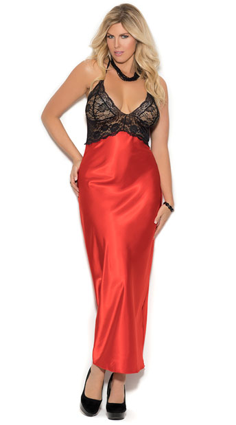 Size Red Charmeuse Gown, Plus Size Red Gown with Black Lace Bodice ...