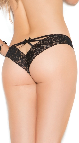 Ribbon Tie Lace Thong - Black