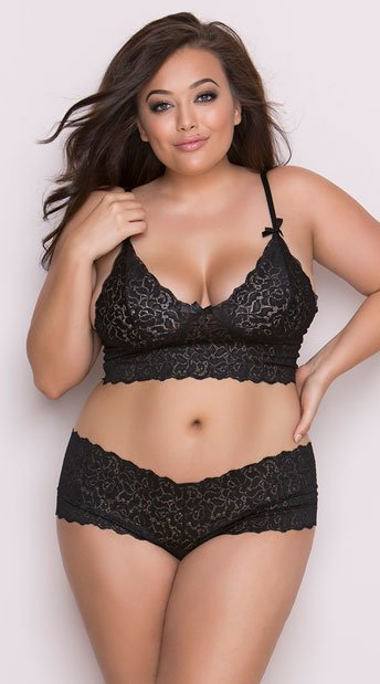 Plus Size Stretch Lace Camisole And Boyshorts - Black ... 69212f761