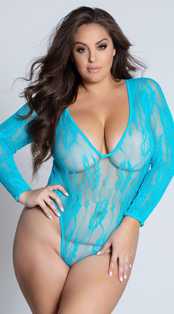 Plus Size Naughty Neon Teddy - Teal