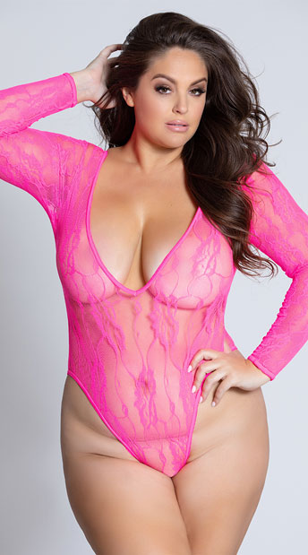Plus Size Naughty Neon Teddy - Neon Pink