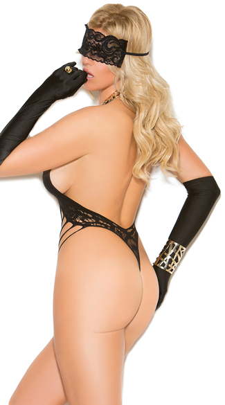 Plus Size Shredded Fishnet and Lace Teddy - Black
