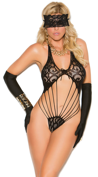 Plus Size Shredded Fishnet and Lace Teddy, Plus Size Black Lace Teddy, Plus Size Black Fishnet Teddy