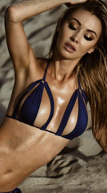 Cut-Out Micro String Bikini - Royal Blue