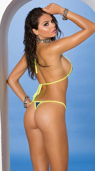 Bright Green and Blue Cut-Out Bikini - Royal Blue