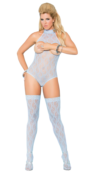 Plus Size Open Cup Blue Lace Teddy and Stockings Set - Baby Blue