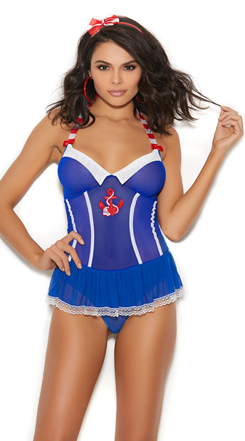 Sexy Sailor Lingerie Costume - Blue