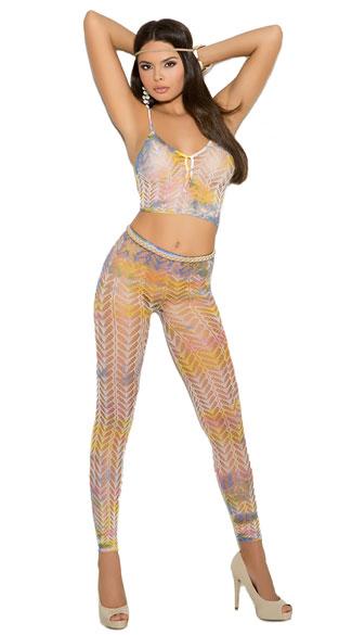Knit Tie Dye Crop Top and Leggings Set - As Shown