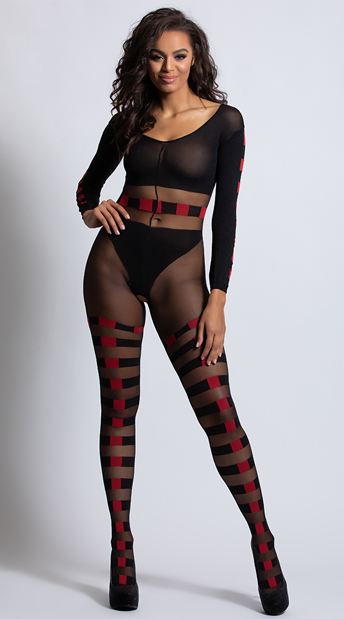 Checkered Fantasy Bodystocking - Black