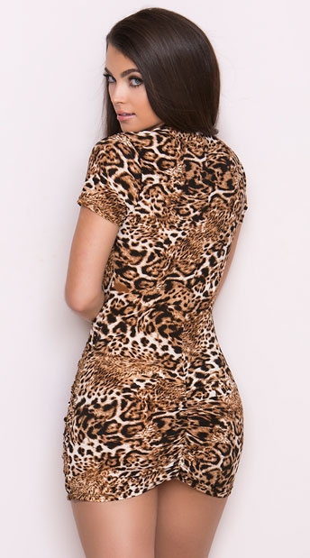 Leopard Print Low Cut Mini Dress - Leopard