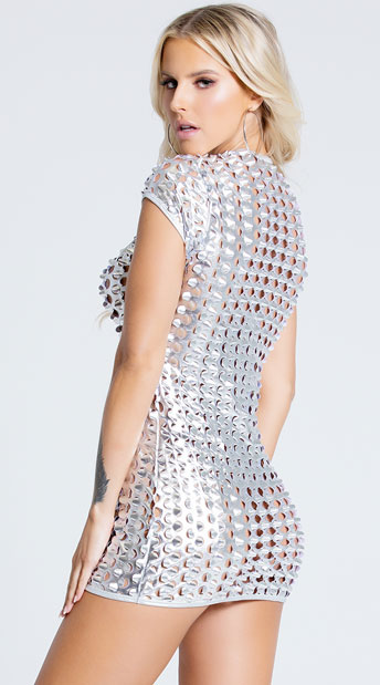 See Right Thru You Cut Out Metallic Dress - Silver