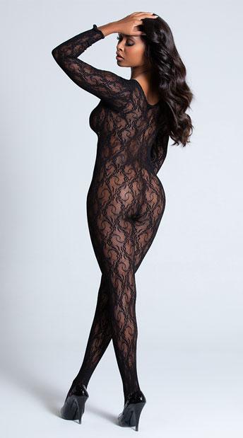 Long Sleeve Lace Bodystocking - Black