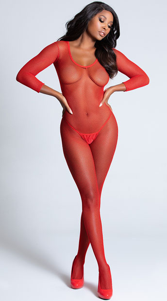 Deep V Fishnet Bodystocking - Red