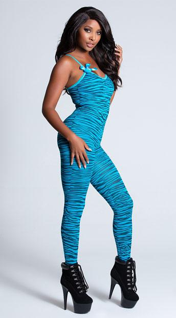 Zebra Print Bodystocking - Turquoise