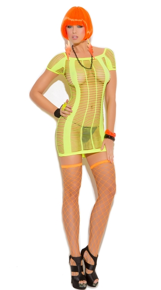 Strappy Neon Mini Dress, Neon Mini Dress With Strap Panels, Stripped Mini Dress