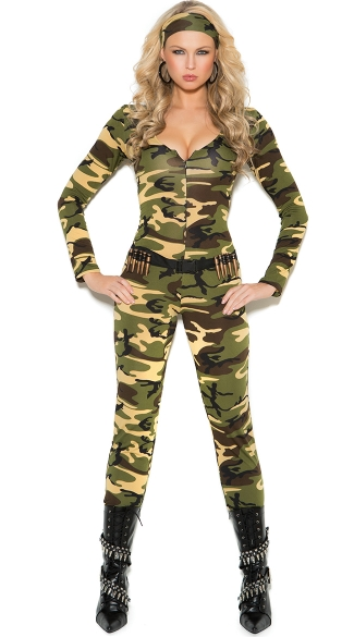Sexy Combat Warrior Costume, Sexy Army Costume, Camo Jumpsuit