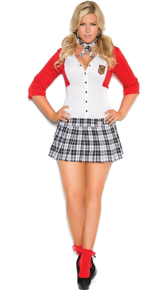 Dean List Diva Costume, Sexy School Girl Costume, Plus Size Sexy School Girl Outfit-3666