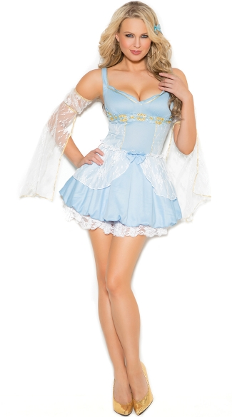 Sassy Cinder Babe Costume, Sexy Barmaid Halloween, Blue Barmaid Costume