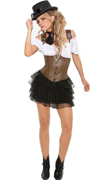 Racy Steampunk Rose Costume - Black