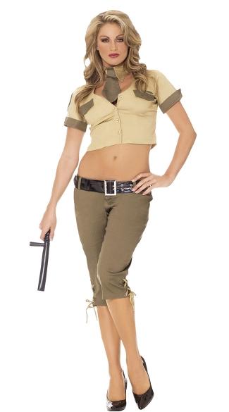 Highway Hottie Costume - Brown/Tan