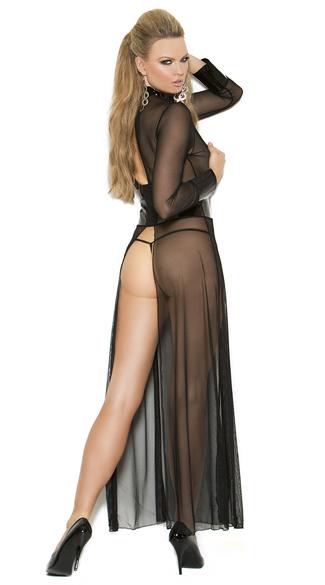 Flowing Vinyl and Mesh Open Gown Set - Black