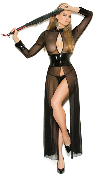 Flowing Vinyl and Mesh Open Gown Set, Sheer Black Gown, Long Sleeve Chemise
