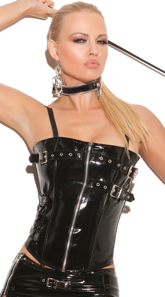 Naughty Girl Vinyl Corset With Garters, Leather Lace-Up Corsets, Sexy Zipper Front Tops