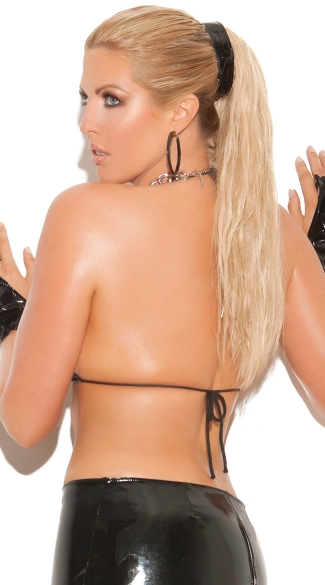 Plus Size Skimpy Vinyl String Top - Black