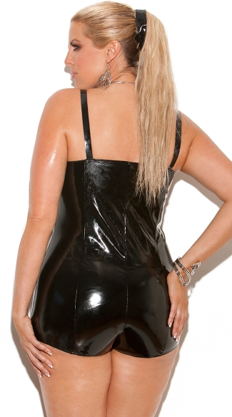 Plus Size Vinyl Romper with Lace Up Front - Black