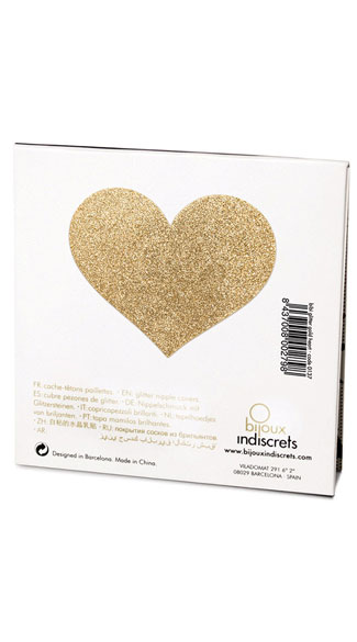 Flashy Gold Heart Pasties - Gold