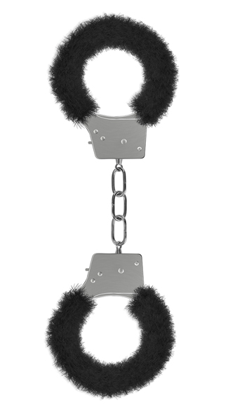 Beginner\'s Handcuffs Furry Black, Adult Handcuff, BDSM Handcuffs