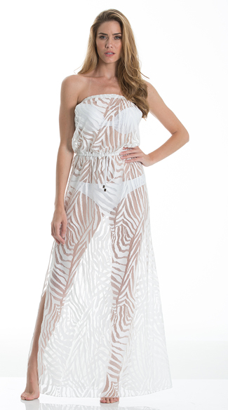 Strapless Sheer Maxi Dress Cover Up