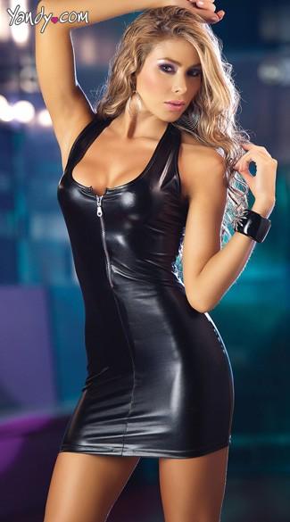 Zipper Front Mini Dress Lame Mini Dress Little Black