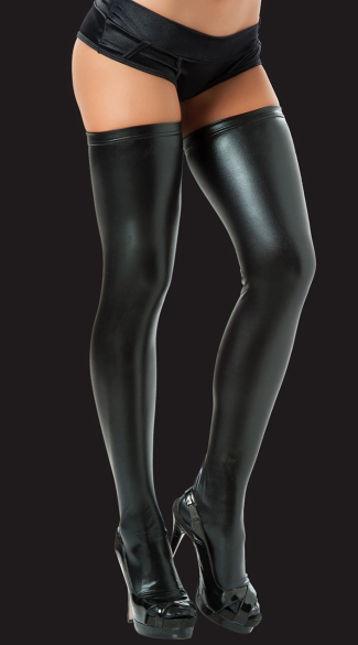 Sexy Metallic Thigh High Stockings, Thigh High Leggings, Extra Long Wet Look Thigh Highs