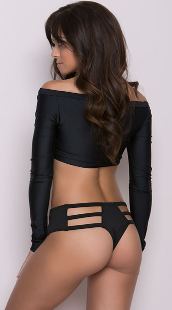 Strappy Thong Hipster - Black