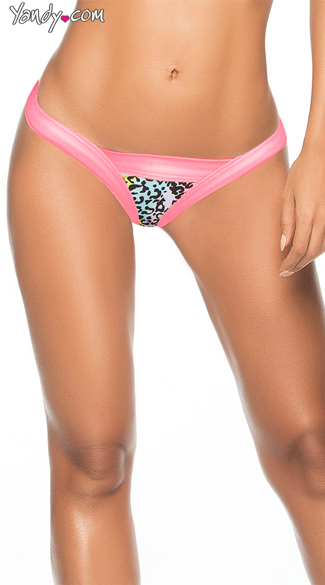 Printed Thong with Thick Straps, Wide Band Panty, Glow Thong Underwear