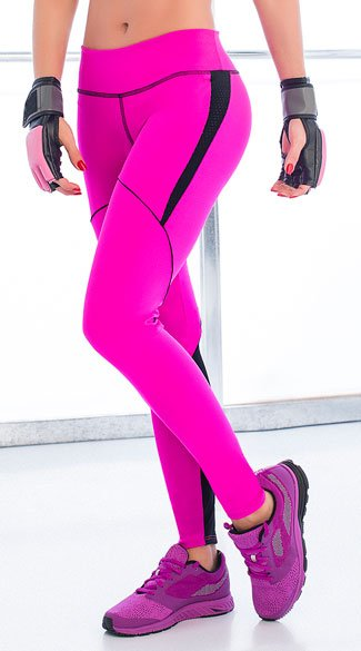 Two Tone Active Leggings, Stretchy Gym Pants, Workout Pants