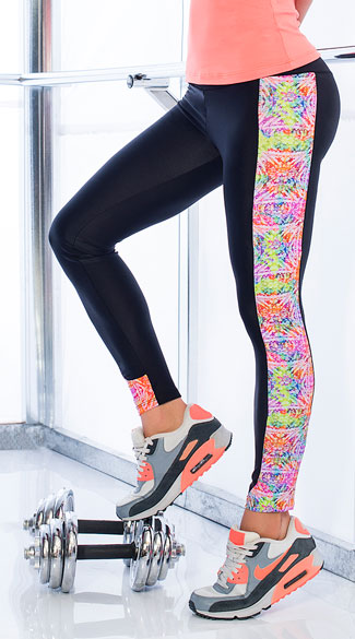 Watercolor Gym Leggings, Colorful Workout Pants, Colorful Gym Pants
