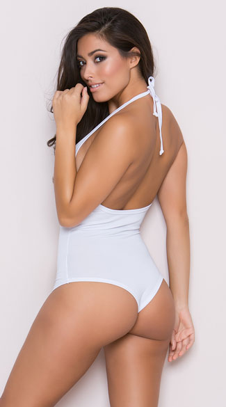 Low Cut Bodysuit - White